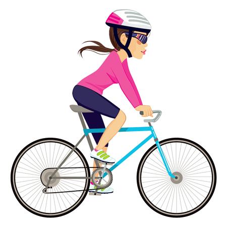 Mujer ciclista profesional joven en bicicleta feliz andar en bicicleta