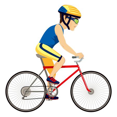 biker man: Young professional man cyclist cycling happy riding bike