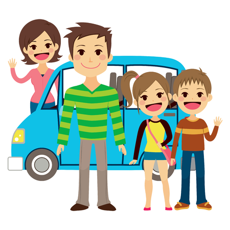 minivan: Illustration of cute family going together on vacation trip Illustration