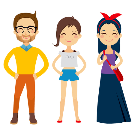 Illustration of three young people characters wearing hipster clothes Illustration