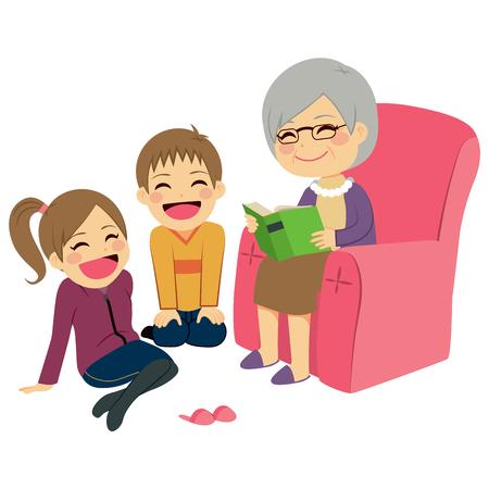 внук: Иллюстрация детей слушать бабушку чтения историю