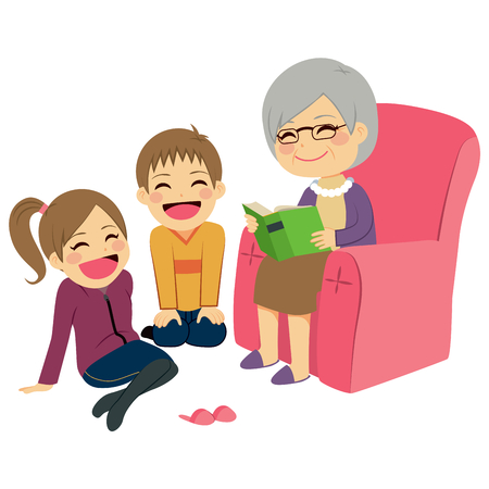 tell stories: Illustration of kids listening their grandmother reading a story