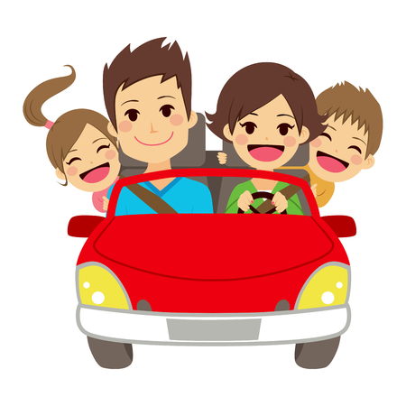 family trip: Illustration of cute happy family of four members smiling on car