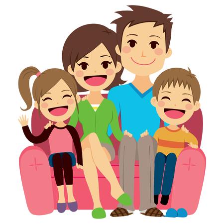 ソファーに座っていた 4 人のかわいい幸せな家族のイラスト