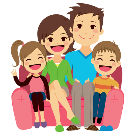 young woman sitting: Illustration of cute happy family of four people sitting on sofa