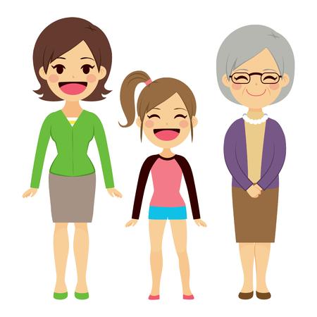 vecchiaia: Illustrazione di tre generazioni di donne di diverse età, dai bambini ai giovani adulti madre e la nonna anziano