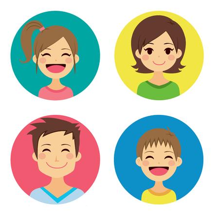 Familia feliz de cuatro personas retratos juntos