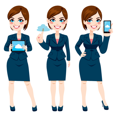 Beautiful young businesswoman using cloud computing on different devices Stock Illustratie