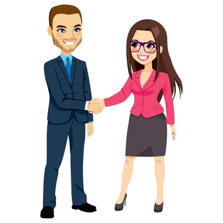 personas saludandose: Hombre de negocios en traje azul estrechando la mano de la empresaria en traje rosa de negociación feliz de pie Vectores