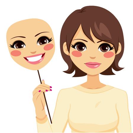 Femme sérieuse tenant concept de masque heureux d'hypocrisie Banque d'images - 40702156