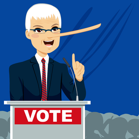 Politician with big nose lying on election speech Vector
