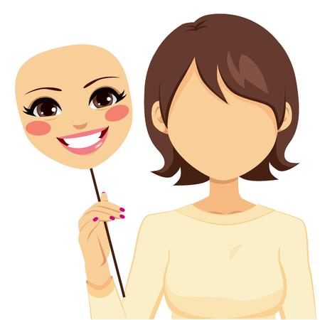 偽善の幸せマスク概念を保持している顔の見えない女性 写真素材 - 40700848