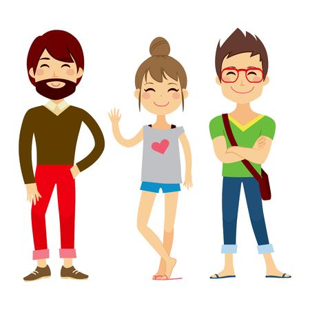 personas de pie: Ilustración de tres jóvenes las personas que usan caracteres ropa casual