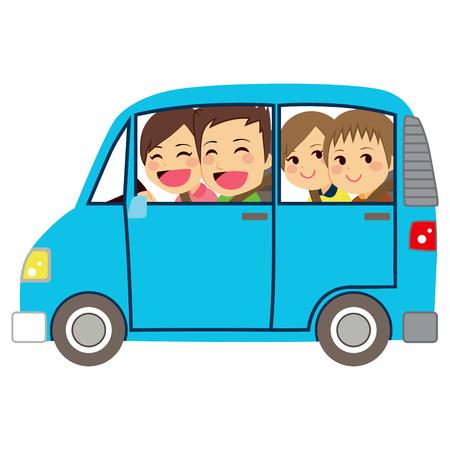 Ilustração da vista lateral de família feliz bonito de quatro membros na minivan carro