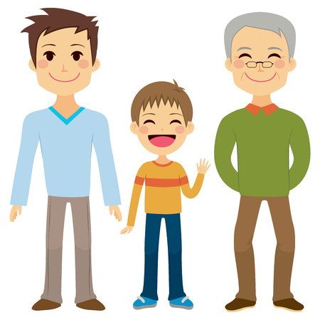 cartoon dad: Illustration of three generations of men of different ages from child to young adult father and senior grandfather Illustration