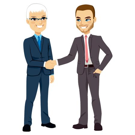 Dos hombres de negocios, uno mayor y uno joven, manos temblorosas feliz de negociación de pie Vectores