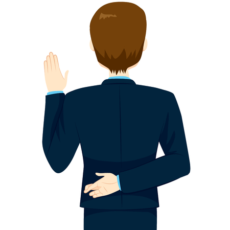 pledge: Back view of young man lying swearing with fingers crossed