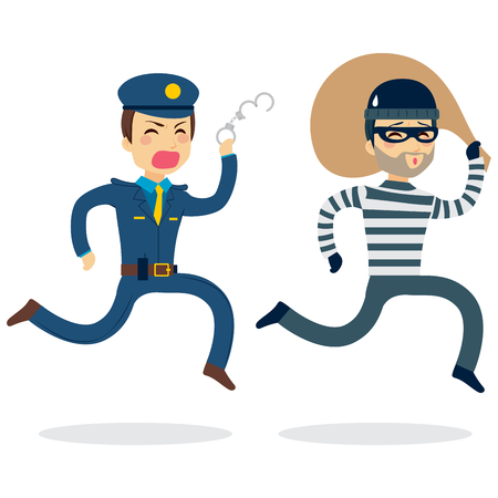 Young police man running chasing thief escaping with stolen bag Vectores