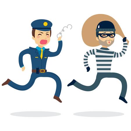 Jonge politie man lopen achtervolgende dief ontsnapt met gestolen tas Stock Illustratie