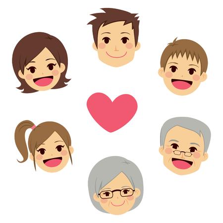 abuelo: Miembros de la familia felices lindos rostros haciendo círculo alrededor del corazón Vectores