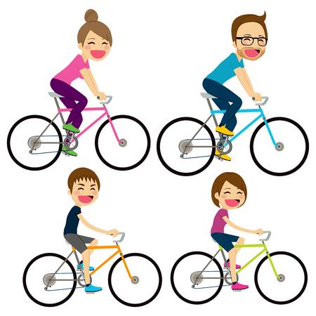 niños en bicicleta: Ilustración de la familia feliz montando en bicicleta juntos