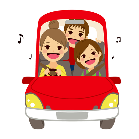woman driving car: Happy mom and kids singing on car driving to school Illustration