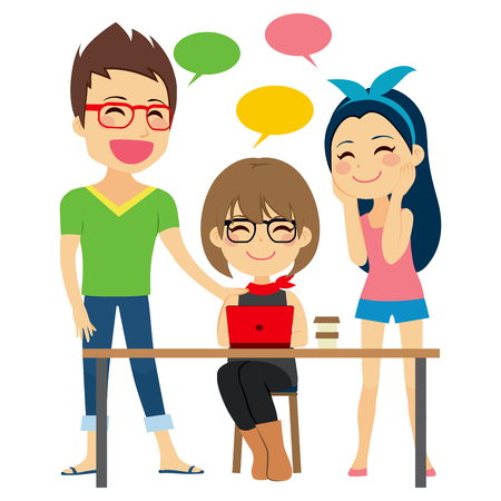 freelancers: Freelancers on coworking place discussing work and talking friendly Illustration
