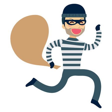 robbery: Funny thief running happy with sack on robbery