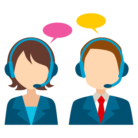 call center female: Call center avatar of female and male worker with bubble speech