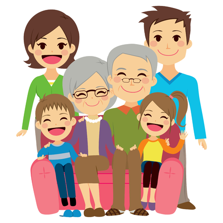 family home: Illustration of cute happy family with mother dad son daughter grandfather and grandmother
