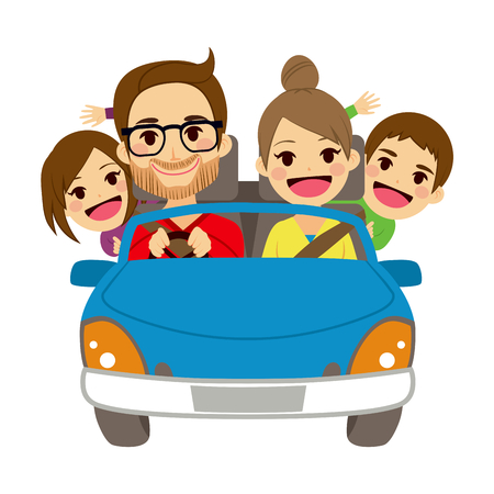 family: Illustration of cute happy family of four members traveling on blue car