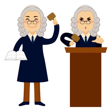 Judge applying law standing and using hammer  イラスト・ベクター素材