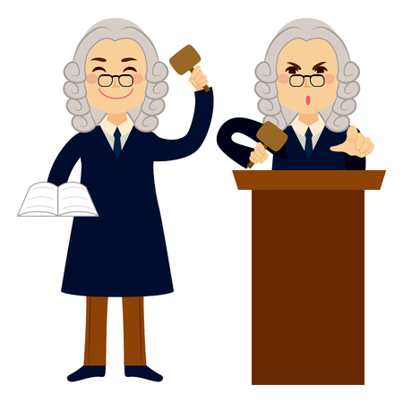 Judge applying law standing and using hammer Ilustracja