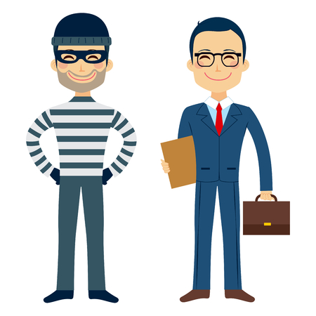 Happy thief and confident lawyer funny cartoon characters