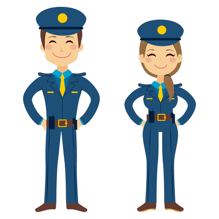 cartoon human: Cute police man and woman agents working in uniform standing happy Illustration