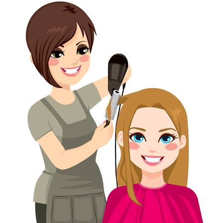 Beautiful hairdresser working drying and combing hair of customer woman