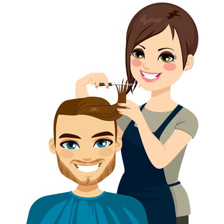 Professional hairdresser cutting fringe with scissors to attractive man Vector