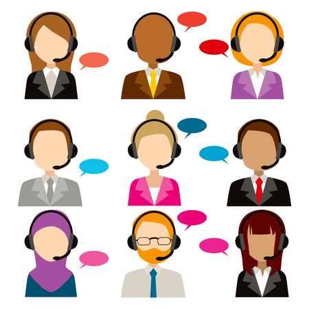 call center office: Faceless call center service diversity icons  with bubble speech