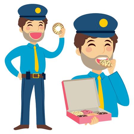 guard duty: De pie gula polic�a gordo comiendo caja de soporte de rosquilla dulce