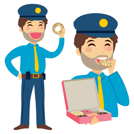 gluttony: Standing gluttony fat policeman eating sweet doughnut holding box