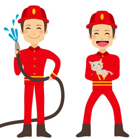 Glücklicher Feuerwehrmann Arbeitshalteschlauch mit fließendem Wasser und Rettung Katze Standard-Bild - 41225551