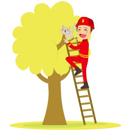 Bombero joven y valiente rescata lindo gato en el árbol de la escalera que sube