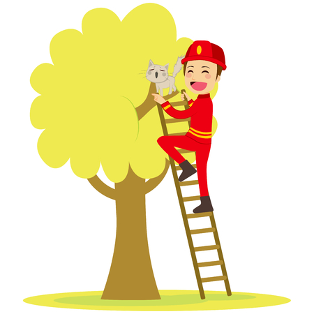 Brave young fireman rescues cute cat on tree climbing ladder