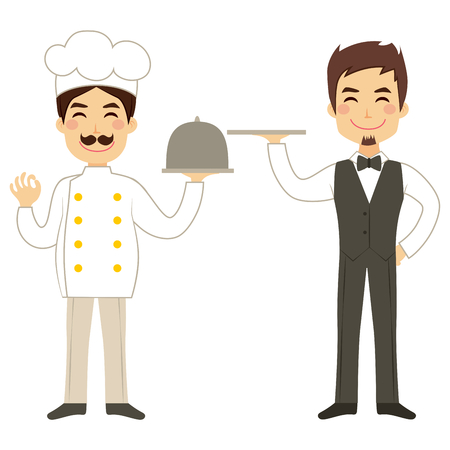 waiter tray: Happy chef holding silver tray and young waiter Illustration