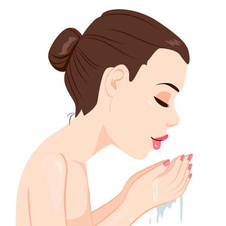 wash care: Side view of woman washing face with clean water Illustration