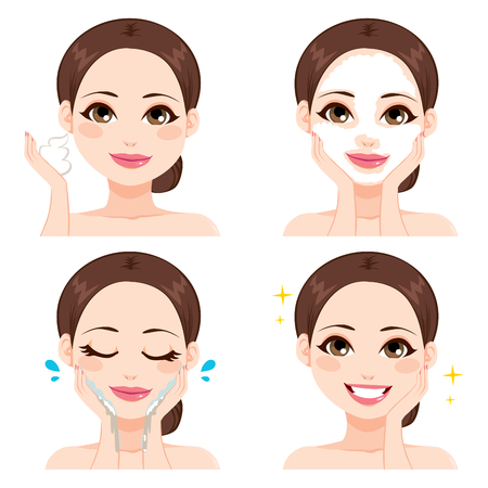 beauty skin: Attractive young woman showing four steps for washing face Illustration