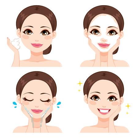 limpieza de cutis: Mujer joven atractiva que muestra cuatro pasos para lavarse la cara