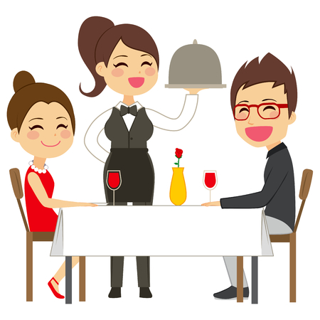 happy couple: Happy waitress serving on restaurant to lovely elegant couple