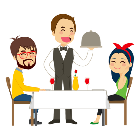 waiter tray: Happy waiter serving on restaurant to lovely casual couple