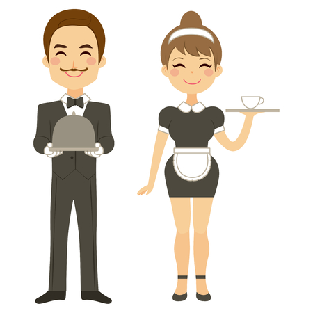 man full body: Butler holding silver tray and maid serving coffee